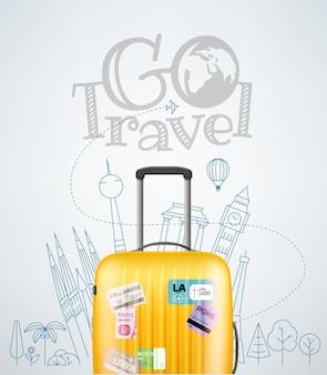 Kolorowa plastikowa torba podróżna z różnymi elementami podróży ilustracja wektorowa koncepcja podróży