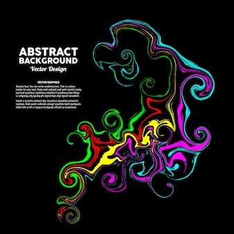 Kolorowa płynna abstrakcyjna sztuka na czarnym tle nadaje się do plakatu banerowego itp
