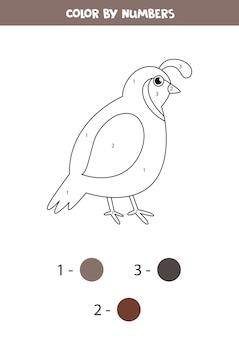 Kolorowa przepiórka kreskówka według numerów. gra edukacyjna dla dzieci. arkusz roboczy do druku dla dzieci.