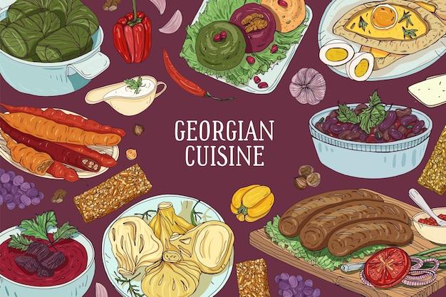 Kolorowa przestrzeń pozioma z pysznymi tradycyjnymi potrawami kuchni gruzińskiej i miejscem na tekst