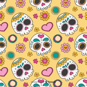 Kolorowa ręka rysująca día De Muertos deseniowa kolekcja
