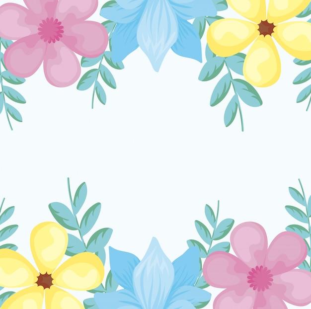 Kolorowa rama z pięknymi kwiatami nad białym tłem