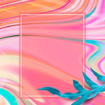 Kolorowa ramka z płynnego marmuru z liściem
