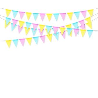 Kolorowa realistyczna miękka kolorowa girlanda z flagą z cieniem. świętuj baner, flagi imprezowe. ilustracja na białym tle