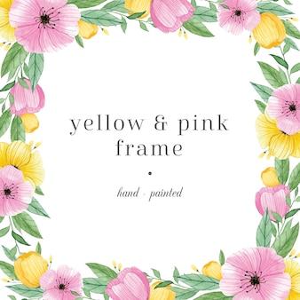 Kolorowa ręcznie malowana ramka z kwiatami