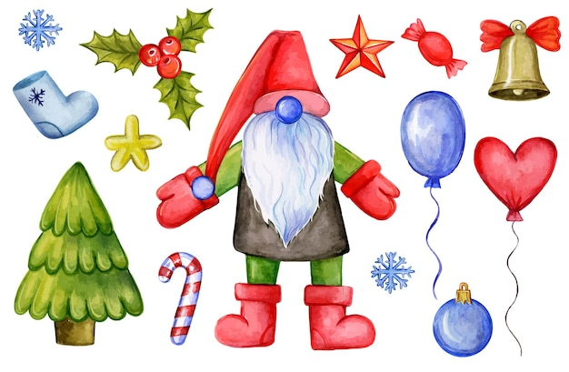 Kolorowa, ręcznie rysowana ilustracja świętego mikołaja i różne tradycyjne ozdoby świąteczne i to...