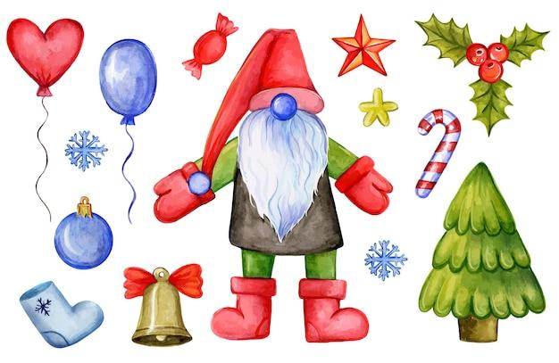Kolorowa, ręcznie rysowana ilustracja świętego mikołaja i różnych tradycyjnych ozdób bożonarodzeniowych i to...