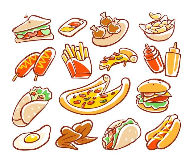 Kolorowa, ręcznie rysowana kolekcja kreskówek fast food