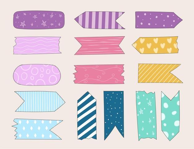 Kolorowa, ręcznie rysowana kolekcja różnych taśm washi