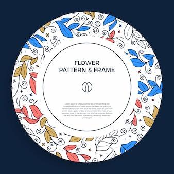 Kolorowa ręcznie rysowane obramowanie ramki florystycznej z delikatnym liściem, gałęziami, roślinami o geometrycznym kształcie koła