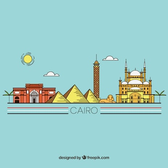 Kolorowa ręka rysująca cairo linia horyzontu