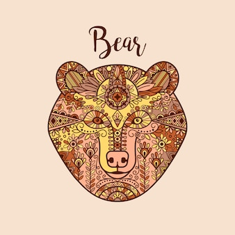 Kolorowa ręka rysująca doodle niedźwiedzia twarz