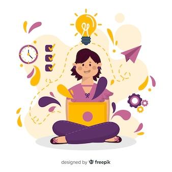 Kolorowa ręka rysująca produktywności pojęcie