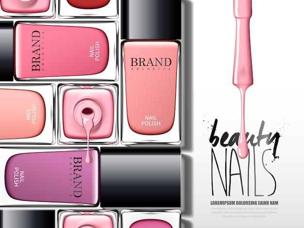 Kolorowa reklama lakieru do paznokci, z wieloma elementami szklanej butelki, ilustracja