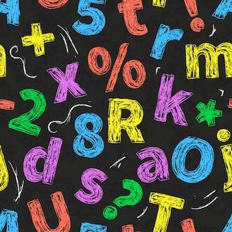 Kolorowa retro ręka rysujący abecadło pisze list rysunek z kredą na czerni szkolnym chalkboard, bezszwowy wzór