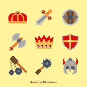 Kolorowa różnorodność płaskich elementów średniowiecznych