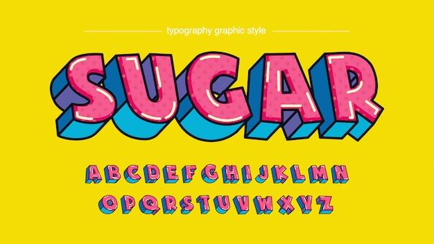 Kolorowa różowa błękitna cukierek kreskówki stylu typografia