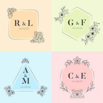 Kolorowa ślubna monogram ilustraci paczka