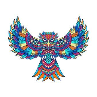 Kolorowa sowa grafika dla dzieciaka koszulki