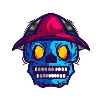 Kolorowa straszna ilustracja wektorowa czaszki dla szablonu projektu koszuli