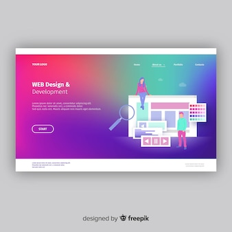 Kolorowa strona docelowa gradientu