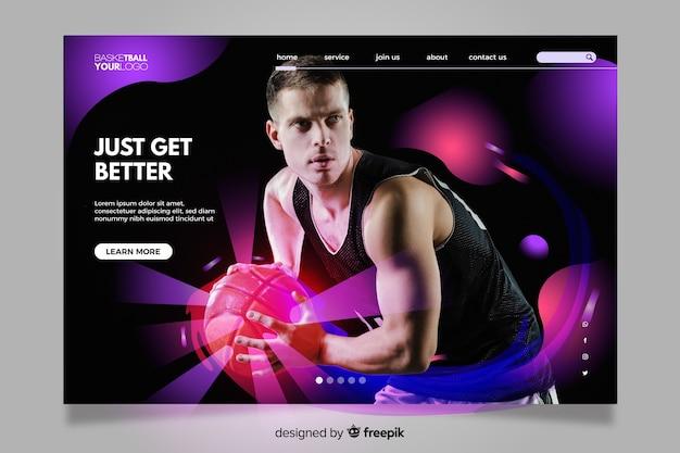 Kolorowa strona docelowa ze zdjęciem dla miłośników sportu