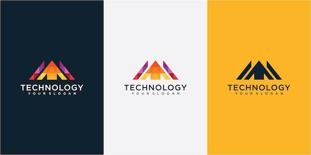 Kolorowa strzałka w górę koncepcja projektowania logo. geometryczne inspiracje do projektowania logo