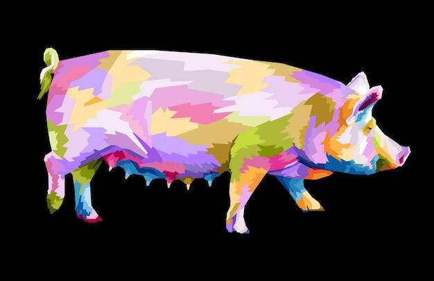 Kolorowa świnia w stylu pop-art portret na białym tle dekoracja