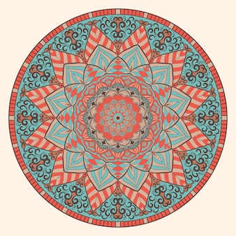 Kolorowa sztuka mandali w stylu vintage