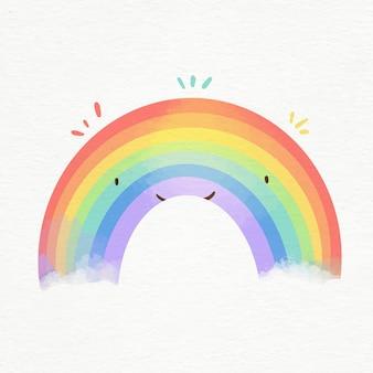 Kolorowa tęcza akwarela ilustrowana