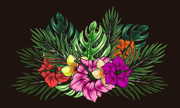 Kolorowa tropikalna ilustracja kwiatowy w stylu vintage na białym tle