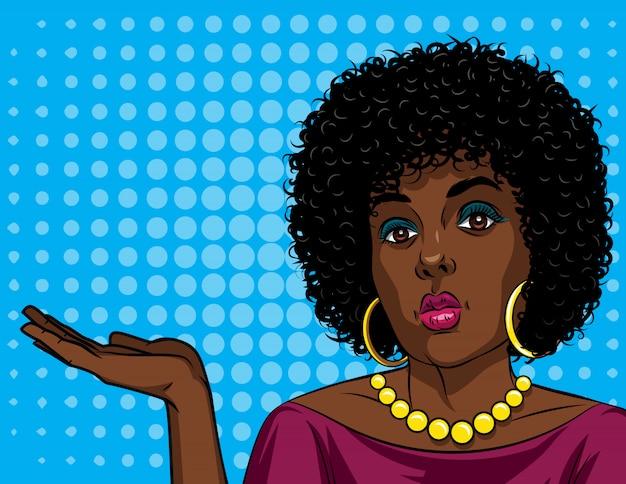 Kolorowa wektorowa ilustracja amerykanin afrykańskiego pochodzenia kobieta w komicznym sztuka stylu