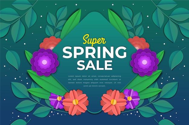 Kolorowa wiosenna wyprzedaż w stylu papieru z napisem