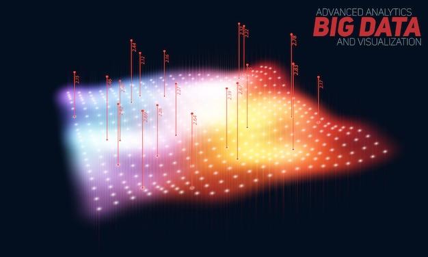 Kolorowa wizualizacja wykresu dużych danych. złożoność danych wizualnych.