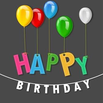 Kolorowa wszystkiego najlepszego z okazji urodzin przyjęcia zaszyty kartka z pozdrowieniami