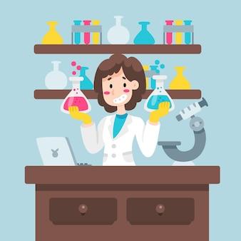 Kolorowa żeńska naukowiec ilustracja