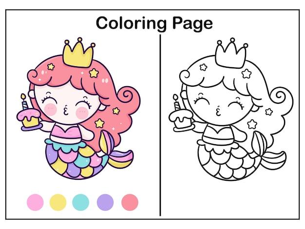 Kolorowanie kreskówka księżniczka syrenka trzymająca tort urodzinowy kawaii zwierząt