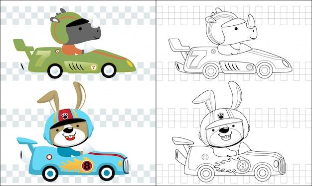 Kolorowanie kreskówka samochód wyścigowy z zabawnym zawodnikiem