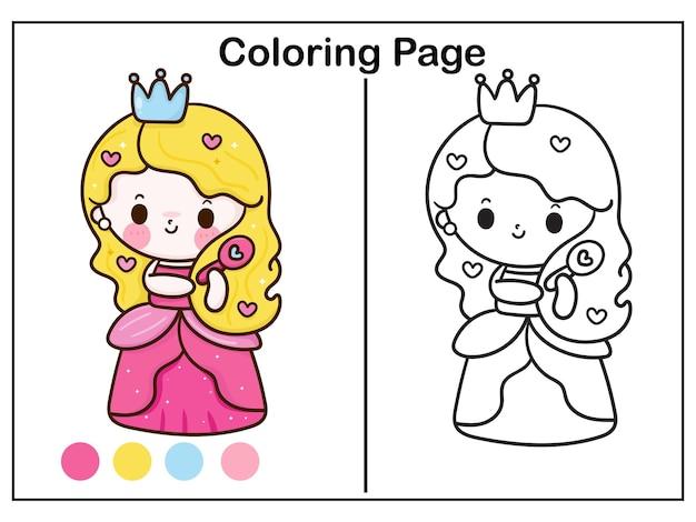 Kolorowanie kreskówki księżniczki szczotkuje jej włosy w postaci kawaii