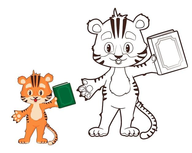 Kolorowanie książki tygrysiątko trzyma książkę w ręku wektor kreskówka styl czarno-biały przebiegłość