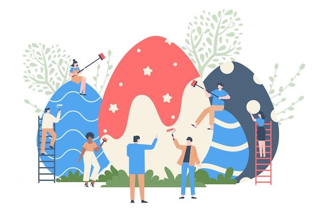 Kolorowanie pisanek. wiosenne dekorowanie jajek, postacie malują ogromne pisanki, wiosenne wakacje kolorowe czekoladowe jajko ilustracja. wydarzenie wielkanocne wiosenne, dekoracja jajek na wakacje