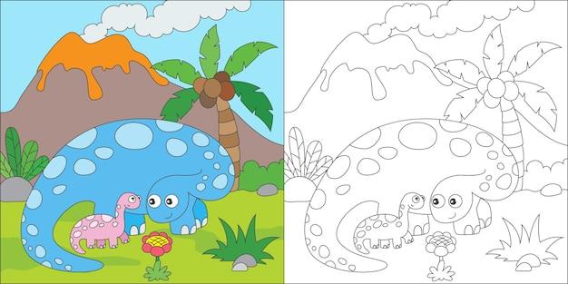 Kolorowanie rodziny dinozaurów