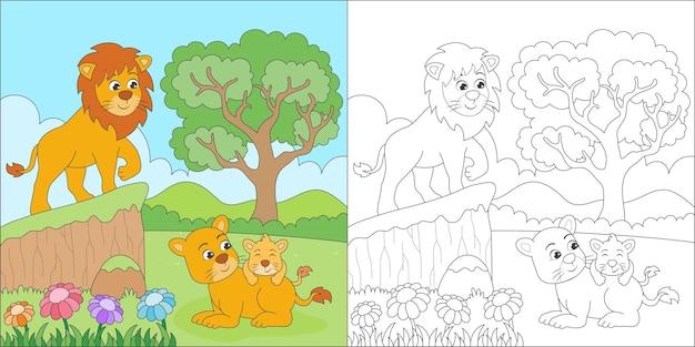 Kolorowanie rodziny lwów