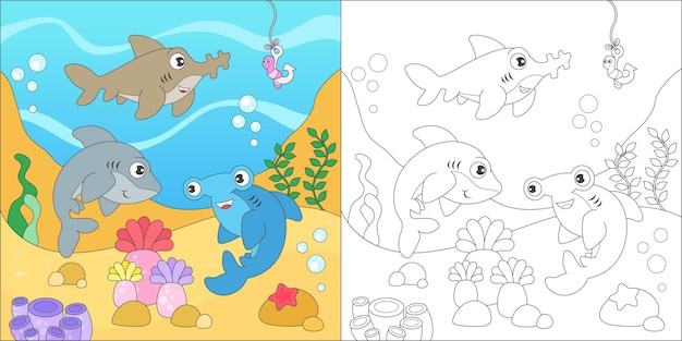 Kolorowanie rodziny rekinów