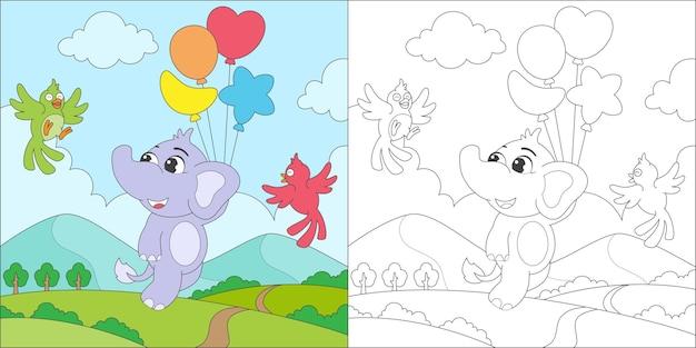 Kolorowanie słonia i balonu