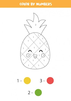 Kolorowanie uroczego ananasa kawaii według liczb. gra edukacyjna dla dzieci.