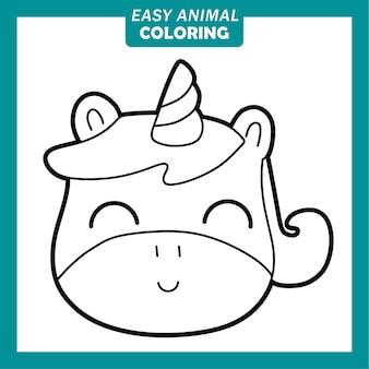 Kolorowanie uroczych postaci z kreskówek zwierząt z jednorożcem