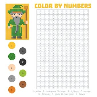 Kolorowanie według numeru, gra edukacyjna dla dzieci, czarodziej