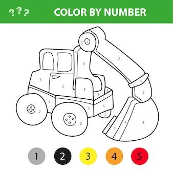 Kolorowanie według numeru gra edukacyjna dla dzieci. koparka kreskówka. ilustracja wektorowa dla dzieci w wieku szkolnym i przedszkolnym