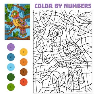 Kolorowanie według numeru, gra edukacyjna dla dzieci, parrot